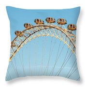 The London Eye Ferris Wheel Against A Cold Blue Winter Sky Throw Pillow