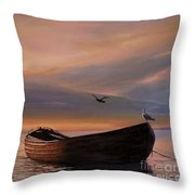 A Lone Boat Throw Pillow by Rosario Piazza