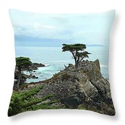 The Lone Cypress Stands Alone Throw Pillow