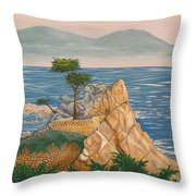 The Lone Cypress Tree Throw Pillow