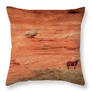 The Lone Horse Throw Pillow