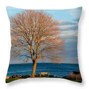 The Lone Maple Tree Throw Pillow