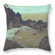 The Lone Waterfal By The Hidden Cove Throw Pillow
