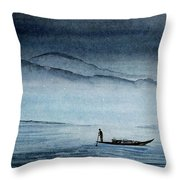 The Lonely Boat Man Throw Pillow