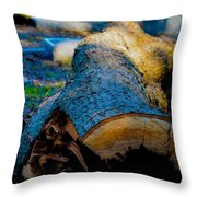 The Lonely Log Throw Pillow