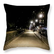 The Lonely Street By Central Park Ny Throw Pillow
