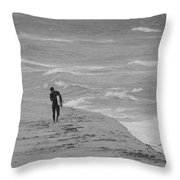 The Lonely Surfer Dude Throw Pillow