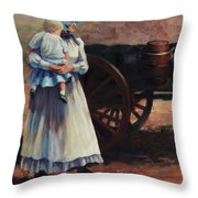 The Long Walk   Pioneers Traveling Westward Throw Pillow