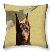 Dobermans..the Look Of The Eagle Throw Pillow