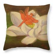 The Lotus And The Dragonfly Throw Pillow