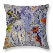 The Lovers In Blue Throw Pillow