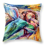 The Lovers Watercolor Throw Pillow