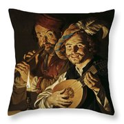 The Lutenist And The Flautist Throw Pillow