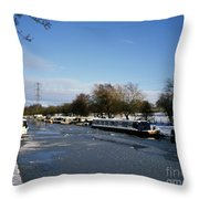 The Macclesfield Canal At Poynton In Winter And Frozen  Cheshire England Throw Pillow