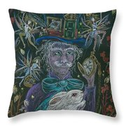 The Maddening Hatter Throw Pillow