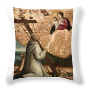 The Madonna And Child Appearing To Saint Bruno With The Instruments Of The Passion Throw Pillow