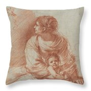 The Madonna And Child With An Escaped Goldfinch Throw Pillow