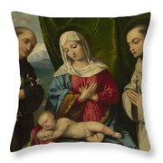 The Madonna And Child With Saints Throw Pillow