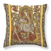 The Madonna Enthroned With Eighteen Holy Women Throw Pillow