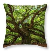 The Magical Angel Oak Tree Panorama  Throw Pillow