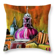 The Magical Rooftops Of Prague 01 Throw Pillow by Miki De Goodaboom