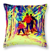 The Magical Skis Throw Pillow