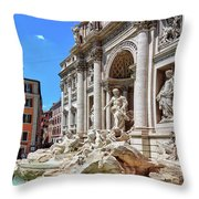 The Majesty Of The Trevi Fountain In Rome Throw Pillow