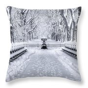 The Mall In Snow Central Park Throw Pillow