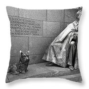 The Man And His Dog Throw Pillow