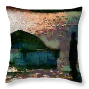 The Man And His Fishing Boat Throw Pillow