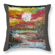 The Man And The Moon Throw Pillow