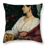 The Mandolin Player Throw Pillow