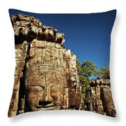 The Many Faces Of Bayon Temple, Angkor Thom, Angkor Wat Temple Complex, Cambodia Throw Pillow