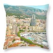 The Marina In Monaco Throw Pillow