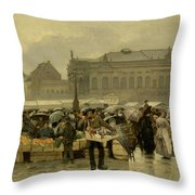 The Market In Antwerp Throw Pillow