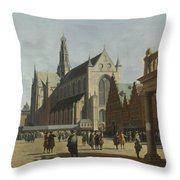 The Market Place And The Grote Kerk At Haarlem Throw Pillow