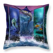 The Marlin And His Sea Friends  Throw Pillow