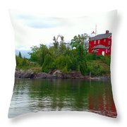The Marquette Lighthouse Throw Pillow