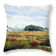 The Marsh In Bloom Throw Pillow