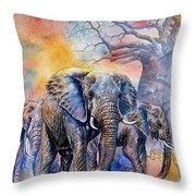 The Masai Mara Elephants Throw Pillow