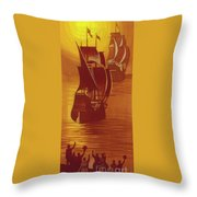 The Mayflower And The Speedwell Leave England In 1620 Throw Pillow