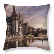 The Medieval Old Town Of Ghent  Throw Pillow