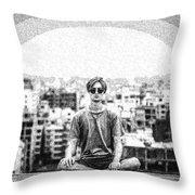 The Meditating Youth Throw Pillow