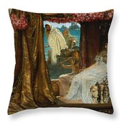 The Meeting Of Antony And Cleopatra By Lawrence Alma-tadema Throw Pillow