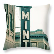 The Mint Classic Neon Sign Livingston Montana Throw Pillow