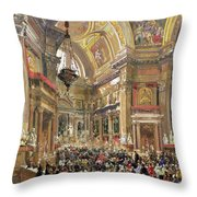 The Miracle Of The Liquefaction Of The Blood Of Saint Januarius Throw Pillow
