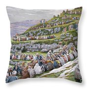 The Miracle Of The Loaves And Fishes Throw Pillow by Tissot