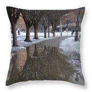 The Mirrored Streets Of Philadelphia In Winter Throw Pillow