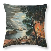 The Mississippi In Time Of War, 1865  Throw Pillow
