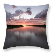The Missouri River At Sunset Reflects Throw Pillow